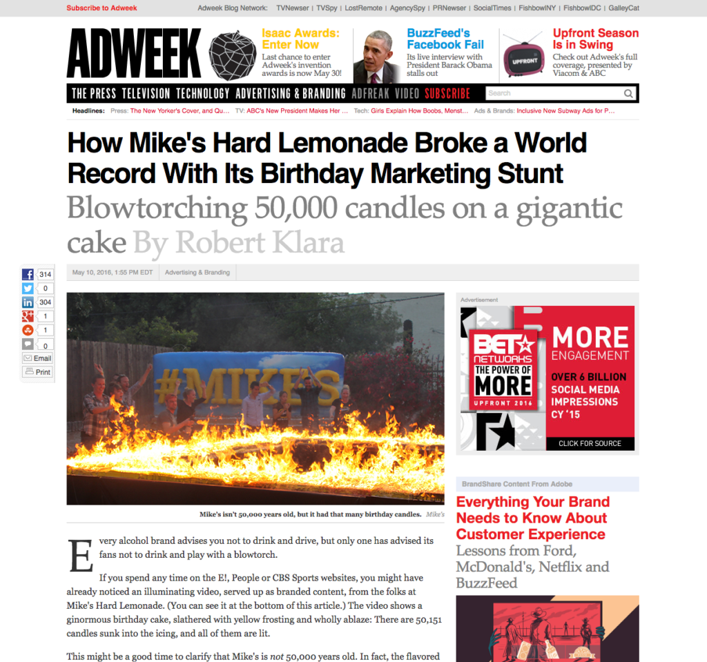 BeCore in AdWeek with Mike's hard lemonade