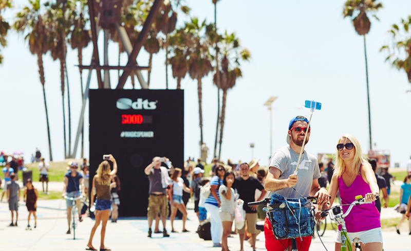 DTS magic speaker box in venice beach - experiential marketing agency based in los angeles, venice beach, hollywood, santa monica, malibu